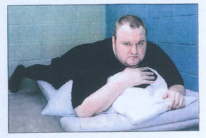 Kim Dotcom in a police cell after he complained of being assaulted by Special Tactic Group officers. Photo / Supplied