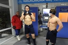 Jamie Roberts and Harry Robinson await their turn in the cryotherapy chamber. Photo / Supplied