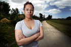 Noreen Roudin on the pathway where she fought off her attacker on Friday. Photo / Doug Sherring