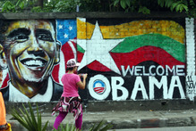 A wall painting by Burma graffiti artists welcomes Barack Obama to the country, en route to Cambodia. Photo / AP
