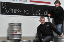 Emerson's Brewery's general manager Bob King (left) and founder Richard Emerson. Photo / Otago Daily Times 