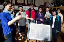 German conductor Eckehard Stier works with students from across Auckland ahead of the Auckland Philharmonia Orchestra concert. Photo / Richard Robinson