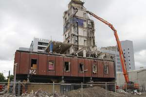 Demolition of MFL House on the corner on a section of Gloucester Streets. Photo / Geoff Sloan