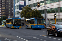 Many of Auckland's inner-city streets have already reached maximum capacity for peak-hour bus journeys. Photo / The Aucklander