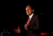 Labour leader David Shearer addresses party members during the Labour Party conference. Photo / Dean Purcell