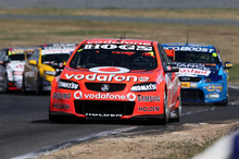 Jamie Whincup leads the way in his Holden after charging through the field at Winton, Victoria, yesterday. Photo / Edge Photographics