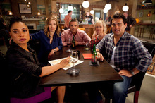 Nothing Trivial features five friends on a pub quiz team, bonded by their love lives. It's Friends with more questions. Photo / Supplied