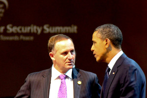John Key and Barack Obama during the Nuclear Security Summit in South Korea in March. Photo / Supplied