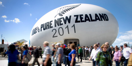 The 100 per cent Pure New Zealand 2011 rugby ball was taken around the world to promote the country. Photo / Natalie Slade