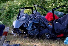 One of the two vehicles involved in the fatal crash. Photo / John Stone