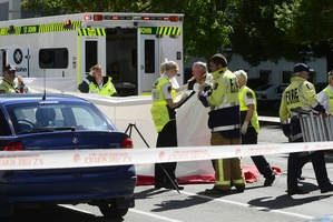 Emergency services at the scene of the fatal crash. Photo / Peter McIntosh