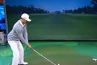 The Golf Channel recently invited long-drive specialist Jamie Sadlowski to test out their swing simulator in the studio. Photo / Youtube.