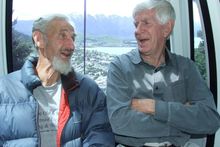 Original Skyline managing director Jon Dumble (left) and former Queenstown mayor Warren Cooper reminisce as they ride on the gondola on Friday. Photo / Tracey Roxburgh