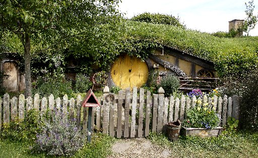 Some of the houses from the set of Hobbiton in Matamata.