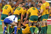 All Blacks captain Richie McCaw was kneed and headbutted by Wallabies flanker Scott Higginbotham during the Bledisloe Cup. Photo / Getty Images 