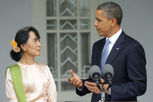 President Barack Obama stands with Burma's opposition leader Aung San Suu Kyi. Photo / AP