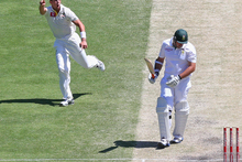 James Pattinson celebrates the wicket of Graeme Smith during the first test in Brisbane. Photo / Getty Images