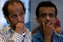 Abdinor Abdi, left, and Mohamed Bashir in the dock for their sentencing at the Auckland High Court. Photo / Sarah Ivey