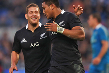 Julian Savea and Tawera Kerr-Barlow in action against Italy. Photo / Getty Images