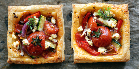 Easy tomato &amp; feta tarts. Photo / Doug Sherring