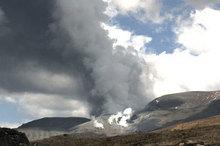 The Te Maari crater at 1.30pm today. Photo / Geonet