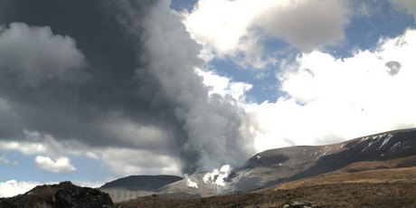 The Te Maari crater at 1.30pm today. Photo / Geonet