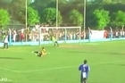 A reserve keeper 'saved' a certain goal after running on the pitch to stop a shot during a club match in Argentina.