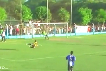 An Argentine club keeper runs onto the field to make a save. Photo / YouTube