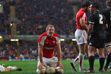 Bradley Davies looks on dejectedly during the 2010 test between the All Blacks and Wales in Cardiff. Photo / Getty Images