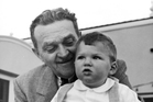Hollywood Blacklist creator Billy Wilkerson with his son Willy. Photo/AP