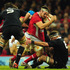 Wales captain Sam Warburton runs into All Blacks number 8 Kieran Read during the International Match between Wales and New Zealand. Photo / Getty Images