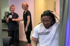 Ma'a Nonu gets a spray tan in Cardiff. Photo / YouTube