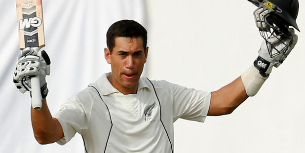 New Zealand captain Ross Taylor celebrates scoring a century during the first day of the second test cricket match against Sri Lanka in Colombo. Photo / AP