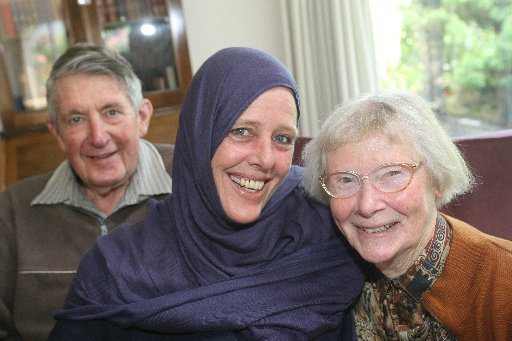 WELCOME HOME: Fiona Lovatt-Davis pictured with her parents Des and Barbara Lovatt in their Greytown home.