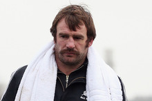  Andrew Hore of the All Blacks looks on at scrum practice during a training session at Latymers Upper School. Photo / Getty Images.