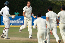 New Zealand's Tim Southee, center, celebrates. Photo / AP.