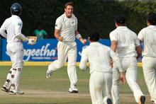 New Zealand's Tim Southee, center, celebrates. Photo / AP.