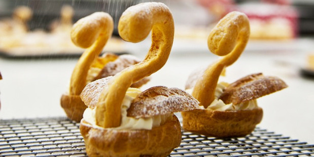 Working with choux pastry at Le Cordon Bleu cooking school in Wellington. Photo / Jason Burgess