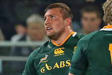 The Springboks apologised after Dean Greyling (picture) whacked All Black captain Richie Macaw on the jaw with his elbow. Photo / Getty Images 