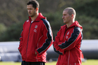 England head coach Stuart Lancaster (R) speaks with Andy Farrell the England backs coach during the England training session at Pennyhill Park. Photo / Getty Images.