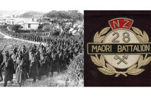 The Maori Battalion (left) consisted of volunteers, grouping tribes together, which led to multiple losses by many whanau. 28th Maori Battalion badge (right). Photo / New Zealand Herald Archives, Supplied