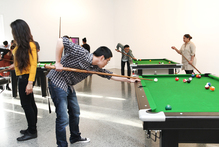 Pool tables are part of the exhibition at Mangere Arts Centre Nga Tohu o Uenuku. Photo / Janet Lilo 