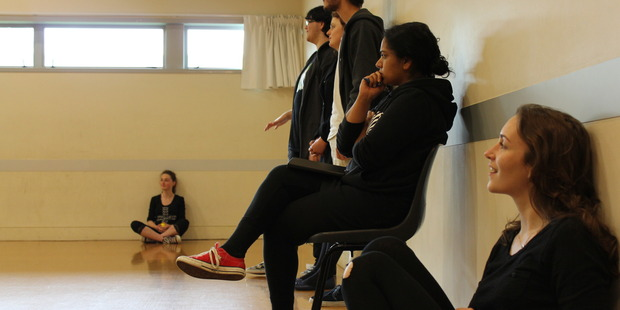 (Left to right) Erin O'Flaherty (seated), Zachary Buckland, Amie Bentall, Jack Duncan Spring, Nisha Madhan (YASC Tutor) and Hannah Shunk-Hockings rehearsing. Photo / Lucie Everard-Brown