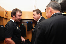 All Black Andrew Hore talks with Steve Hansen and Ian Foster following the match against Wales. Photo / Getty Images