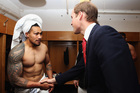 When Prince William turned up in the dressing room, Ma'a Nonu was still dressed in a towel. Photo / Getty Images