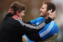 Adam Thomson (left) has had little game time, but helping Kieran Read train is also important. Photo