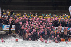Swimmers plunge into the sea for last year's State Harbour Crossing. Photo / Supplied