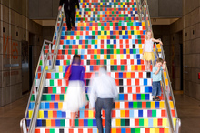The colourful staircase at the Christchurch Art Gallery. Photo / Supplied