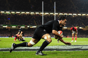 All Black loosie Liam Messam finishes off the try of the year in Cardiff. Photo / Getty Images