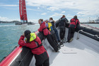 Twelve lucky young sailors went out on the Hauraki Gulf to watch Emirates Team New Zealand train on the AC72 for the America's Cup challenger series. Photo / Chris Cameron